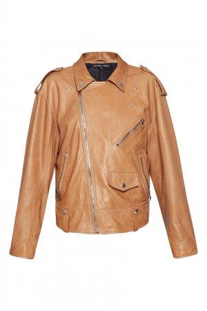 Коричневая куртка-косуха Alexander Terekhov. Цвет: бежевый