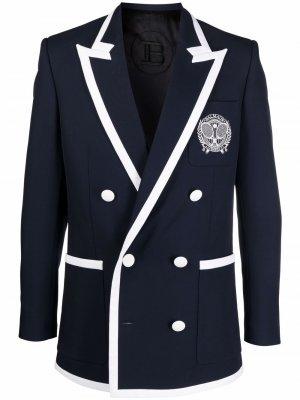 Пиджак с логотипом Balmain. Цвет: синий