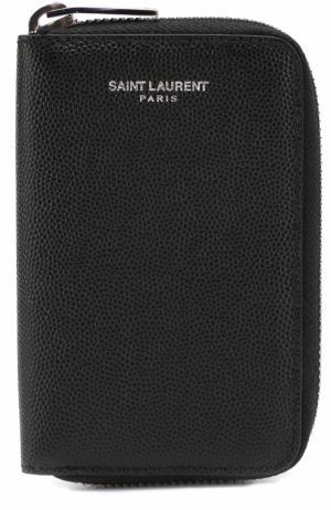 Кожаный футляр для ключей на молнии с отделениями кредитных карт Saint Laurent. Цвет: черный