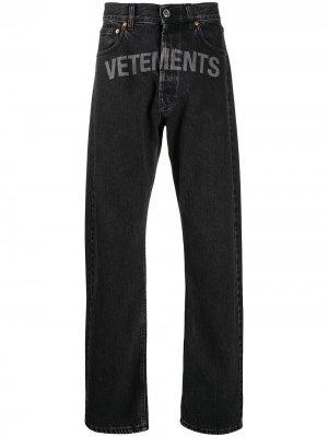 Джинсы с логотипом Vetements. Цвет: черный