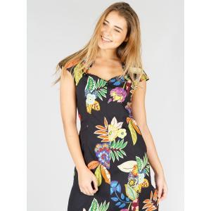 Платье прямое с цветочным принтом DERHY. Цвет: черный наб. рисунок
