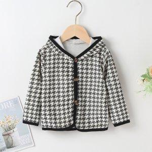 Пуговица Повседневный пальто для малышей SHEIN. Цвет: черный и белый