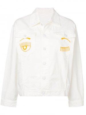 Джинсовая куртка с принтом Chiara Ferragni. Цвет: белый