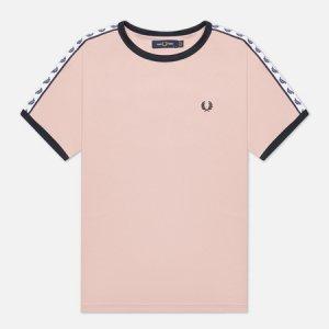 Женская футболка Boxy Taped Ringer Fred Perry. Цвет: розовый