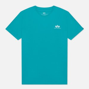 Мужская футболка Basic Small Logo Alpha Industries. Цвет: голубой