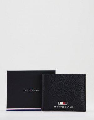 Черный кожаный бумажник с логотипом в виде флага -Черный цвет Tommy Hilfiger