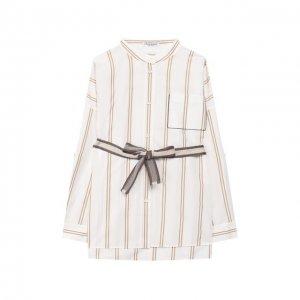 Хлопковая блузка с ремнем Brunello Cucinelli. Цвет: бежевый