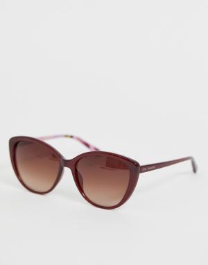 Красные солнцезащитные очки кошачий глаз Ted Baker. Цвет: красный