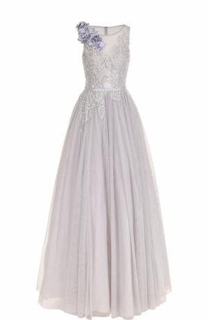 Приталенное платье-макси с вышивкой Basix Black Label. Цвет: серый