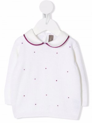 Embroidered long-sleeve jumper Little Bear. Цвет: белый