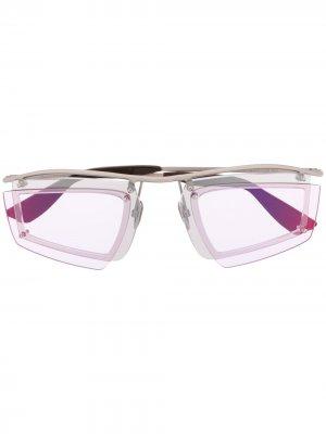 Футуристичные солнцезащитные очки Acne Studios. Цвет: серебристый