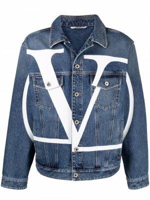 Джинсовая куртка с логотипом VLogo Signature Valentino. Цвет: черный