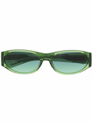 Солнцезащитные очки в овальной оправе FLATLIST. Цвет: зеленый