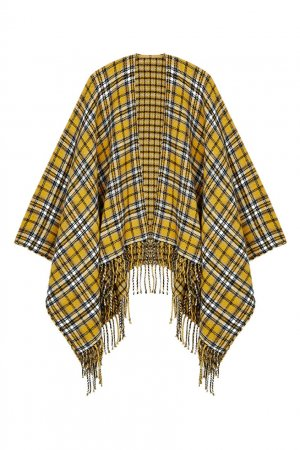 Желтая клетчатая накидка-шарф Maje. Цвет: желтый
