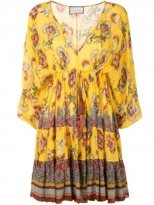 Платье Holli с цветочным принтом Alexis. Цвет: желтый