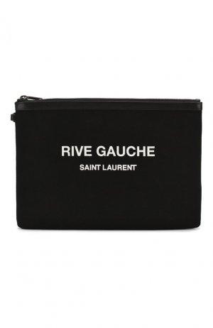 Текстильный футляр для документов Saint Laurent. Цвет: чёрный