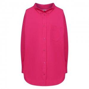 Хлопковая рубашка Balenciaga. Цвет: розовый