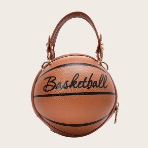 Сумка-сэтчел в форме баскетбола с текстовым принтом SHEIN. Цвет: коричневые