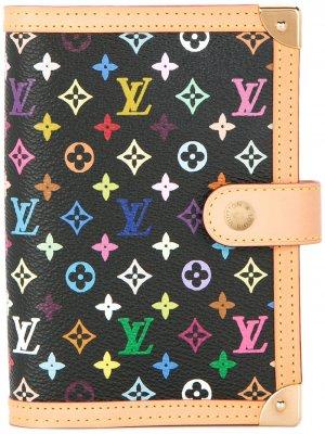 Обложка для ежедневника с разноцветными монограммами Louis Vuitton. Цвет: черный