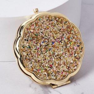 Блестящее портативное зеркало для макияжа SHEIN. Цвет: золотистый