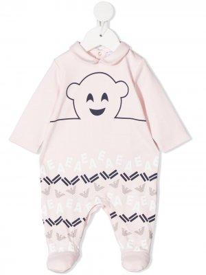 Пижама с логотипом Emporio Armani Kids. Цвет: розовый