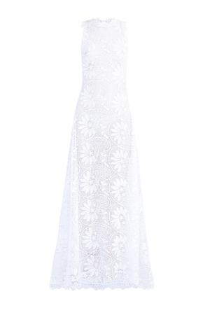 Платье из кружева ручной работы с цветочным орнаментом CHARO RUIZ IBIZA. Цвет: белый