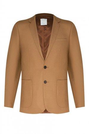 Светло-коричневый шерстяной пиджак Sandro. Цвет: бежевый