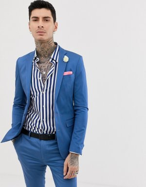 Супероблегающий однотонный пиджак из эластичного хлопкового сатина -Голубой Devils Advocate