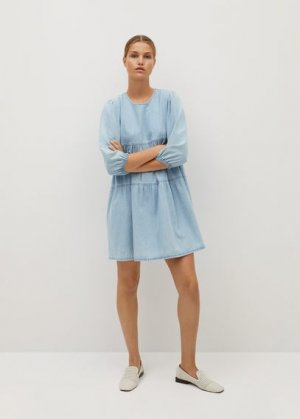 Джинсовое платье с воланом - Amaia Mango. Цвет: синий средний