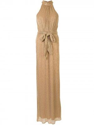 Платье с поясом на завязках. и воротником-стойкой Halston Heritage. Цвет: золотистый