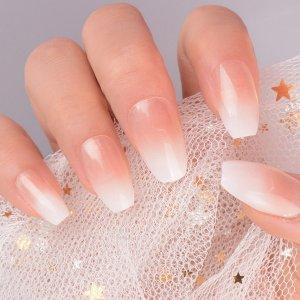 24шт Накладные ногти и 1 лист лента пилочка для ногтей SHEIN. Цвет: нежний розовый