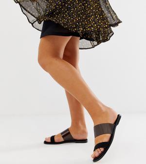 Сандалии для широкой стопы с прозрачным ремешком Flirt ASOS DESIGN. Цвет: черный