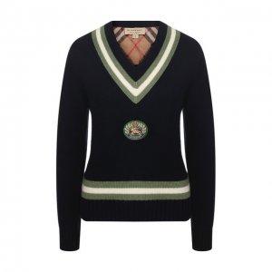 Пуловер из смеси шерсти и кашемира Burberry. Цвет: синий
