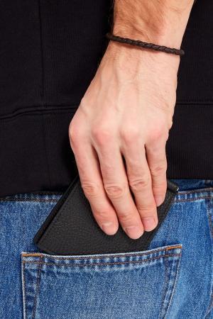 Кожаное портмоне Canali. Цвет: черный