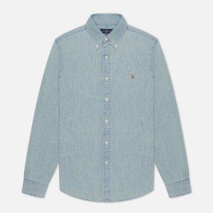 Мужская рубашка Slim Fit Chambray Polo Ralph Lauren. Цвет: голубой