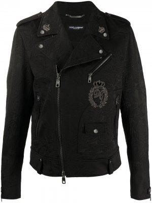 Байкерская куртка с нашивкой Dolce & Gabbana. Цвет: черный