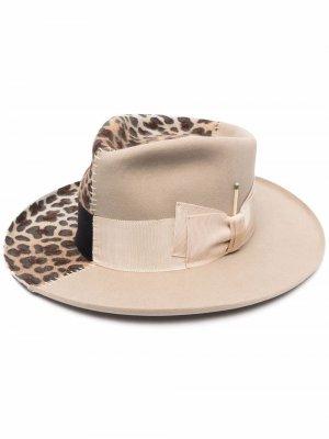 Шляпа-федора с принтом Nick Fouquet. Цвет: нейтральные цвета