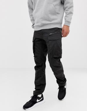 Черные суженные книзу брюки карго с молниями 3D Rovic-Черный цвет G-Star