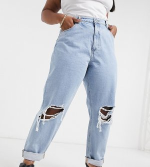 Светлые выбеленные свободные джинсы в винтажном стиле с завышенной талией и рваной отделкой ASOS DESIGN Curve-Голубой Curve