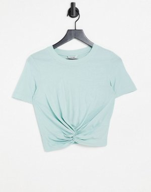 Зеленая футболка из органического хлопка с перекрученным элементом спереди Wilma-Зеленый цвет Monki