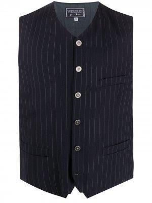 Полосатый жилет 1990-х годов Versace Pre-Owned. Цвет: синий