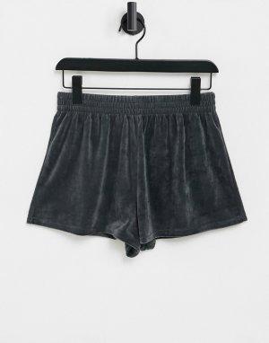 Темно-серые велюровые домашние шорты «Выбирай и Комбинируй»-Серый ASOS DESIGN