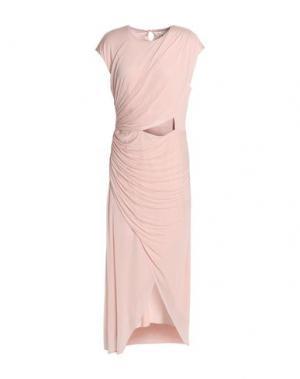Длинное платье HALSTON. Цвет: светло-розовый