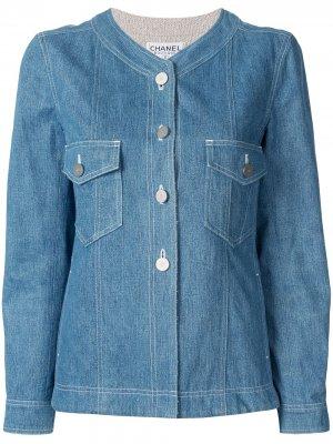Джинсовая куртка без воротника Chanel Pre-Owned. Цвет: синий