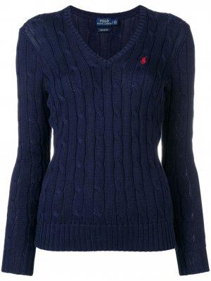 Пуловер фактурной вязки Polo Ralph Lauren. Цвет: синий
