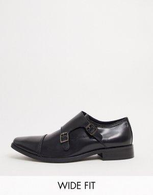 Черные кожаные туфли на шнуровке для широкой стопы -Черный цвет Dune