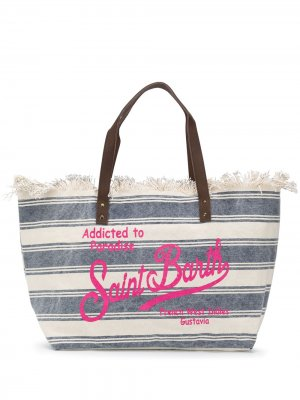 Полосатая пляжная сумка с логотипом Mc2 Saint Barth. Цвет: синий