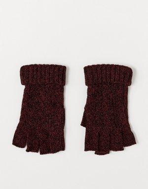 Бордово-черные перчатки без пальцев с узором косы -Красный ASOS DESIGN