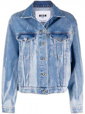 Джинсовая куртка с эффектом потертости MSGM. Цвет: синий