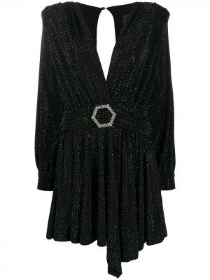 Платье мини с длинными рукавами и поясом Philipp Plein. Цвет: черный